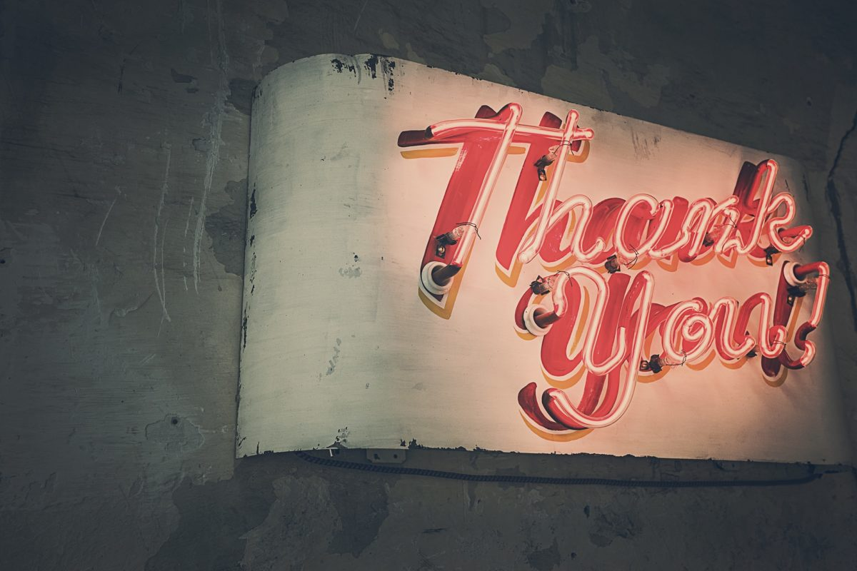 thank you written in neon